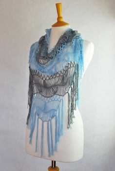 blue grey stripes shawl hairpin lace crochet wrap by annerstreet, $69.50