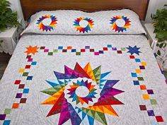Cartwheel Compass Quilt -- terrific specially made Amish Quilts from Lancaster (hs4718)