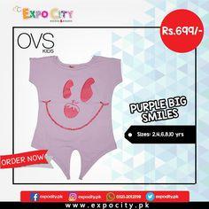 Product: Purple Big Smiles  Brand: Ovs Kids  Price: Rs. 699  #Children #Girls #Dress #Shirts #Tshirts Tops #Karachi #Lahore #Islamabad #OnlineShopping #ExpoCity #Kids #BabyGirls #CashOnDelivery #Apparel #PartyWear #Pakistan #PakistanShopping #Stylish #Plain #Casual #Colorful #OvsKids