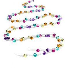 Bright and iridescent beads. Christmas Bead Garland, Christmas Tree Decorations, Beaded Garland, Iridescent, Beaded Bracelets, Ornaments, Beads, Bright, Jewelry