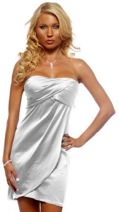 For you - Strapless Tube Pleated Evening Prom Cocktail Party Satin Womens  Mini Dress cc93700be