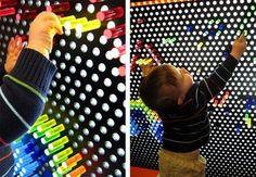 Huge lite-brite wall at Providence Children's Museum Museum Cafe, Children's Museum, Office Hacks, Weird But True, Lite Brite, Bright Walls, Amazing Spaces, Kid Spaces, Pretty Cool