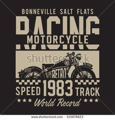Racing motorcycle typography, t-shirt graphics, vectors