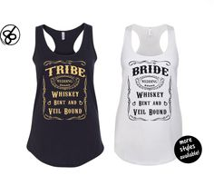Bride Tribe Country Bachelorette Party Tank Top - Whiskey Bent and Veil Bound Tank Top - Bride & Bridesmaid Shirt by 86LevelStDesign on Etsy