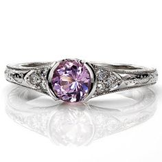 Sapphire Seville - Knox Jewelers - Minneapolis Minnesota - Sapphire Rings - Seville, Hand Engraved, Filigree, Sapphire,Bezel