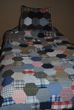 Plaid Hexagon Quilt and Reading Pillow by Sew Me Something Good, via Flickr - men's shirts