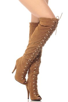 Tan Faux Suede Thigh High Lace Up Peep Toe Boots @ Cicihot Boots Catalog:women's winter boots,leather thigh high boots,black platform knee high boots,over the knee boots,Go Go boots,cowgirl boots,gladiator boots,womens dress boots,skirt boots.