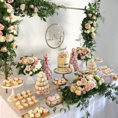 Prettiest engagement party styled by the talented Tarts, Doughnut Towers Bridal Shower Desserts, Wedding Desserts, Bridal Shower Decorations, Dinner Party Desserts, Engagement Party Decorations, Engagement Party Desserts, Wedding Cake Table Decorations, Engagement Parties, Wedding Engagement