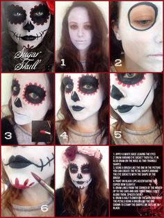 Day of the dead make up tutorial  Original artist unknown  By Sarah Ashleigh at London Body Painting Co❤️