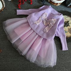 2 Piece Set Purple Long Sleeve Floral Sweater+Lace Dress Set Girls Outfits 2-8Y