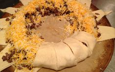 Baked Crescent Roll Taco Ring - can serve with salad topped with sour cream in the middle