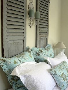 Old Shutters in bedroom, so cute for a new headboard. Now where do I get old shutters from? Home Bedroom, Bedroom Decor, Master Bedroom, Bedroom Ideas, Bedroom Makeovers, Wall Decor, Bedroom Inspiration, Wall Art, Home Interior