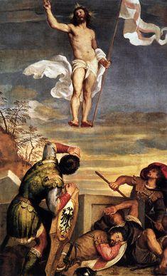 The Resurrection - Ticiano Vecellio Renaissance Kunst, Italian Renaissance, La Résurrection Du Christ, Italian Painters, Art Database, Art Memes, Classical Art, Religious Art, Dark Fantasy