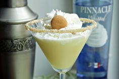 Banana Puddintini Ingredients:    ~1/3 cup milk or cream  ~2 tablespoons Pinnacle Whipped Vodka  ~2 tablespoons Pinnacle Banana Vodka  ~1 teaspoon JELL-O banana cream instant pudding mix  ~Caramel or butterscotch ice cream topping  ~Crushed vanilla wafers  ~Whipped cream  ~1 mini vanilla wafer  OH MY!