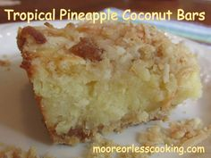 Tropical Pineapple Coconut Bars Pineapple Desserts, Pineapple Coconut, Pineapple Upside, Pinapple Cake, Pineapple Recipes, Crushed Pineapple, Pineapple Squares, Tropical Desserts, Pineapple Palm