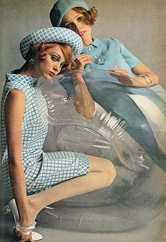 Elegant Balloon Chair Girls, 1968 vintage fashion style color photo print ad model magazine 60s 70s blue dress hat shoes white