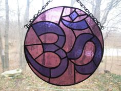 Om Yoga Stained Glass Suncatcher by PerizadCreations on Etsy