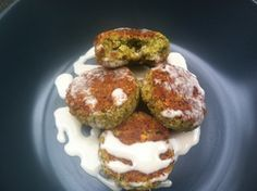 Mark Bittman baked falafel. This is a great recipe. Don't attempt to sub canned chickpeas, just used the soaked raw dry beans. Use lemon juice instead of water in the tahini sauce for more flavor.