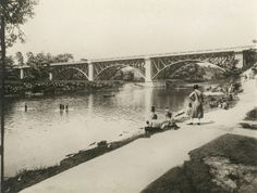 "Toronto ""Bathers in the Humber River in Bloor St. bridge in the background."" - Thanks to Chris Bateman for finding this pic. This is where I rode my bike as a kid, a mere 50 years later. Toronto Hotels, Visit Toronto, Toronto City, Canadian Soldiers, Historical Architecture, Landscape Photos, Old Pictures, Ontario, Old Things"