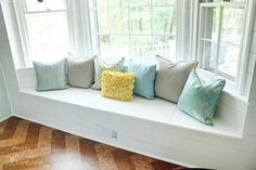 simple window seat in bay window
