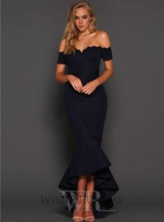 Camille Dress. A stunning midi length dress by Elle Zeitoune. A fitted off-shoulder style featuring mermaid fishtail and thin lace on the neckline.