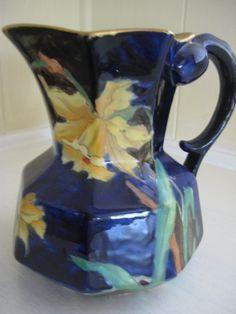 Antique English Cobalt Vase with Daffodils, Gold Trim