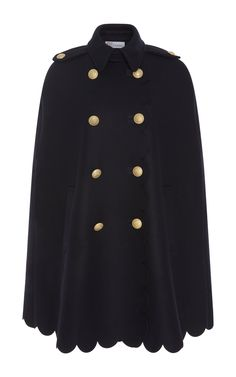 Scalloped Cape With Crest Buttons by RED VALENTINO for Preorder on Moda Operandi