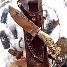 Bowie made from an old leaf spring, 416ss guard, and handle made from the first antler shed that my friend Jim ever found. / Prison City Knives