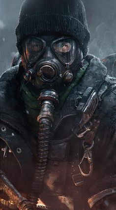 The Division - post Apocalyptic ? Gas Mask Art, Masks Art, Post Apocalyptic Art, Apocalyptic Fashion, Character Art, Character Design, Metro 2033, Apocalypse Art, Tom Clancy The Division