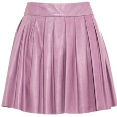 alice + olivia Box Pleat Leather Skirt ($330) ❤ liked on Polyvore featuring skirts, mini skirts, bottoms, saias, faldas, box pleat skirt, pleated leather mini skirt, purple pleated skirt, high waisted skirts and flared skirt