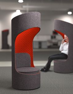 KI - Connection Zone Privacy Booth contoured, symmetrical design provides advanced acoustical qualities, reducing peripheral views and external noise. Office Interior Design, Office Interiors, Cool Furniture, Furniture Design, Library Furniture, Workplace Design, Library Design, Design Strategy, Booth Design