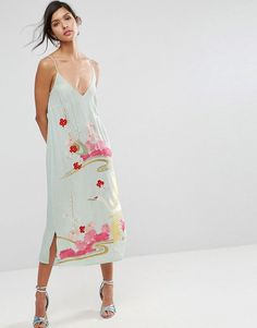 Slip Dress With Floral Embroidery