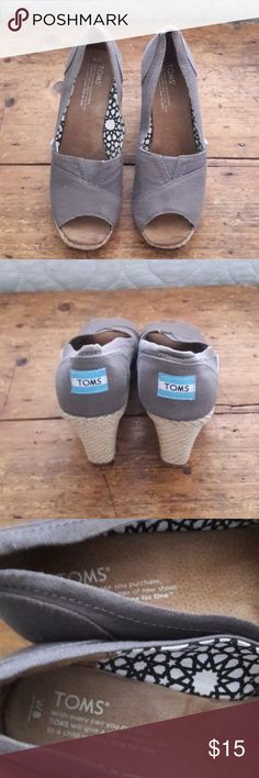 Shoes (TOMS) WEDGES The are barley worn Tom wedges with an open toe. The wedge measures 3 inches. These are in gorgeous shape. Tom Shoes Wedges
