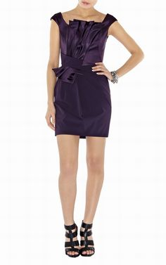 Karen Millen Purple Pleated Peplum Solid Color uk-Karen Millen DL006 Purple Pleated Peplum Dress :