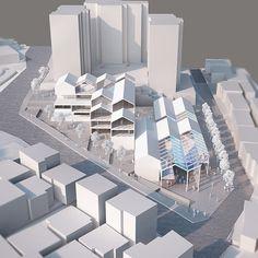 Urban Waves – 웰 아키텍츠 WEL architects Render Architecture, Social Housing Architecture, Architecture Portfolio, Architecture Details, Archi Design, Facade Design, Roof Design, Urban Design Plan, Mockup