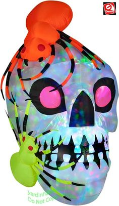 Gemmy Airblown Inflatable KALEIDOSCOPE Skull With Spiders  Item Id: 51917 Retail Price: $99.99 Your Savings: $10.04 Your Price: $94.99 On sale: $89.95  5 1/2' Tall