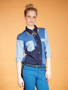 Chemisier patchwork                                                                                         bleu Femme