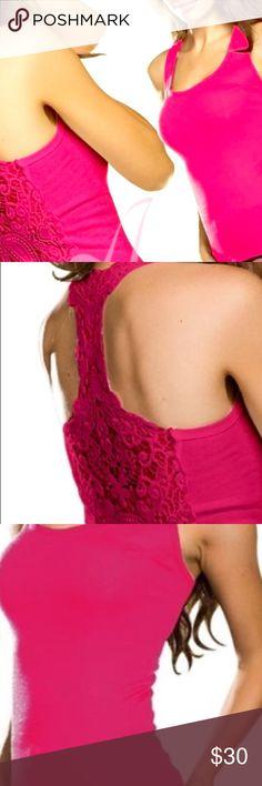 Hot Pink Tank Top Fashion Hot Pink Crochet Eyelet Lace Back Top Tops Tank Tops