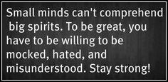 Small minds can't comprehend big spirits.