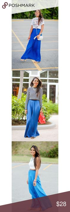 Zara blue maxi skirt Never worn! Silky material. Zara Skirts Maxi