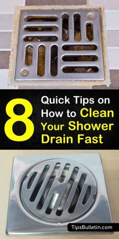 8 Quick Ways to Clean a Shower Drain Fast Learn how to clean a shower drain with our cleaning tips. With our eight tips, we show you the best drain cleaner for hair and soap scum and make it easy for you to unclog shower drains. Shower Drain Cleaner, Unclog Shower Drains, Best Drain Cleaner, Clean Shower Drain, Clean Drains, Deep Cleaning Tips, House Cleaning Tips, Spring Cleaning, Cleaning Hacks