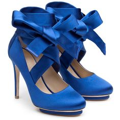 Liam Fahy Charlotte Blue Duchess Satin Cross Court Shoes (€275) ❤ liked on Polyvore featuring shoes, pumps, heels, blue, blue heel pumps, bow heel shoes, blue platform pumps, blue pumps and bow pumps