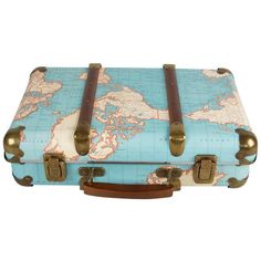 Around the World Vintage Map Suitcase (€38) ❤ liked on Polyvore featuring bags and luggage