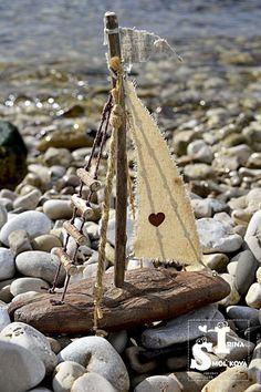 Buy boats - beige, ship, boat, ships, boats, sailboat, sailboats, sail, sails Beach Themed Crafts, Ocean Crafts, Beach Crafts, Crafts To Do, Driftwood Projects, Driftwood Art, Sea Glass Crafts, Beach Wood, Shell Art