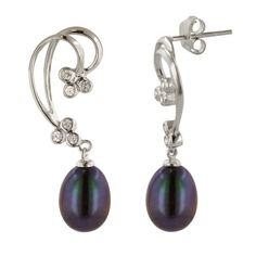Sterling Silver Peacock Freshwater Cultured Pearl and Cubic Zirconia Curved Drop Earrings by Amazon.com Collection, http://www.amazon.com/dp/B004XMW9KA/ref=cm_sw_r_pi_dp_WZPDpb0Q7CEAM