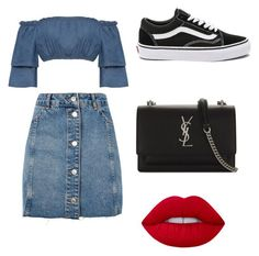 """""""Untitled #47"""" by alexxchavez on Polyvore featuring WearAll, Topshop, Yves Saint Laurent, Lime Crime and Vans"""
