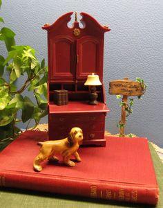 Dollhouse Desk Marx Toy Furniture Miniature Little Hostess Secretary Vintage 60s Plastic Miniature Made in Hong Kong