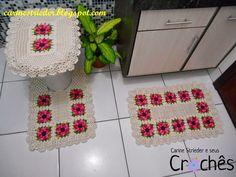 Carine Strieder e seus Crochês: Jogo de Banheiro com a Flor Gérbera