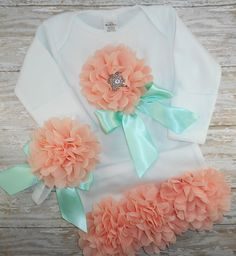 Peach and Mint Baby gown Newborn gown baby girl by LittleQTCouture