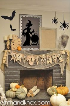 Halloween is about getting spooked. And that usually means you require scary Halloween decorations. Halloween offers an opportunity to pull out all the decorating stop. So get ready to spook up your home with some spooky Halloween home decor ideas below. Retro Halloween, Spooky Halloween, Table Halloween, Halloween Fireplace, Halloween Home Decor, Diy Halloween Decorations, Holidays Halloween, Halloween Crafts, Halloween Party